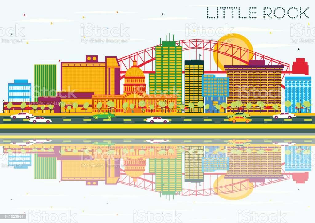 Little Rock Skyline with Color Buildings vector art illustration