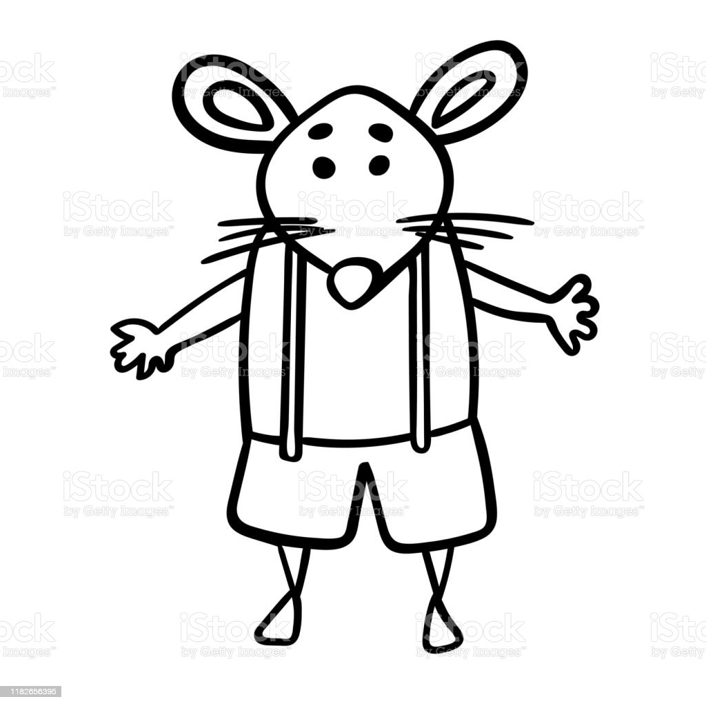 Ilustracion De Pequeno Roedor Simbolo 2020 Braces Y Pantalones Cortos Pagina Para Colorear Libro Para Colorear Contorno Y Mas Vectores Libres De Derechos De Alegre Istock