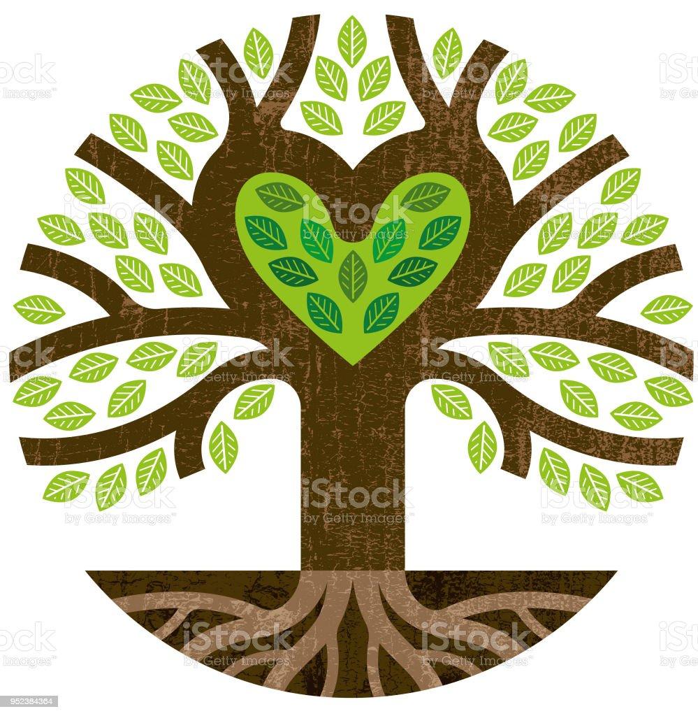 Little Round Green Heart Tree Stock Illustration ...