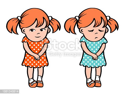 istock Little sad and smile girls in a dress 1331243314