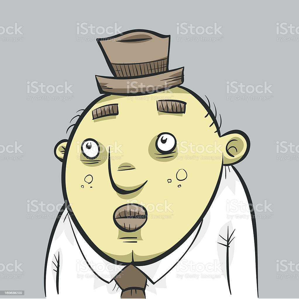 Little Sad Man vector art illustration