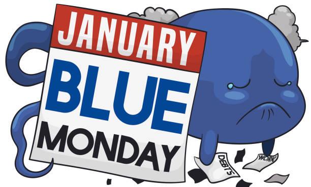 stockillustraties, clipart, cartoons en iconen met beetje triest ziel herinneren de blauwe maandag - blue monday