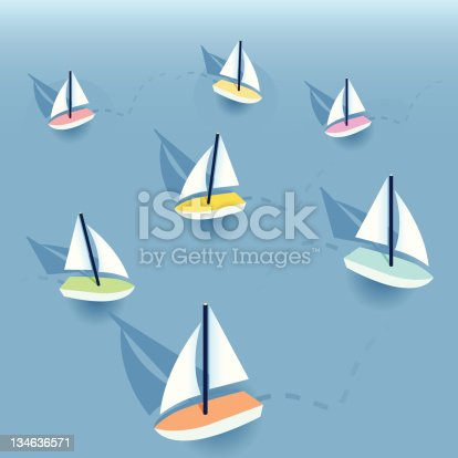 Little sailboats on the water.