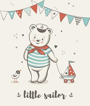 Little sailor, Cute bear vector illustration.
