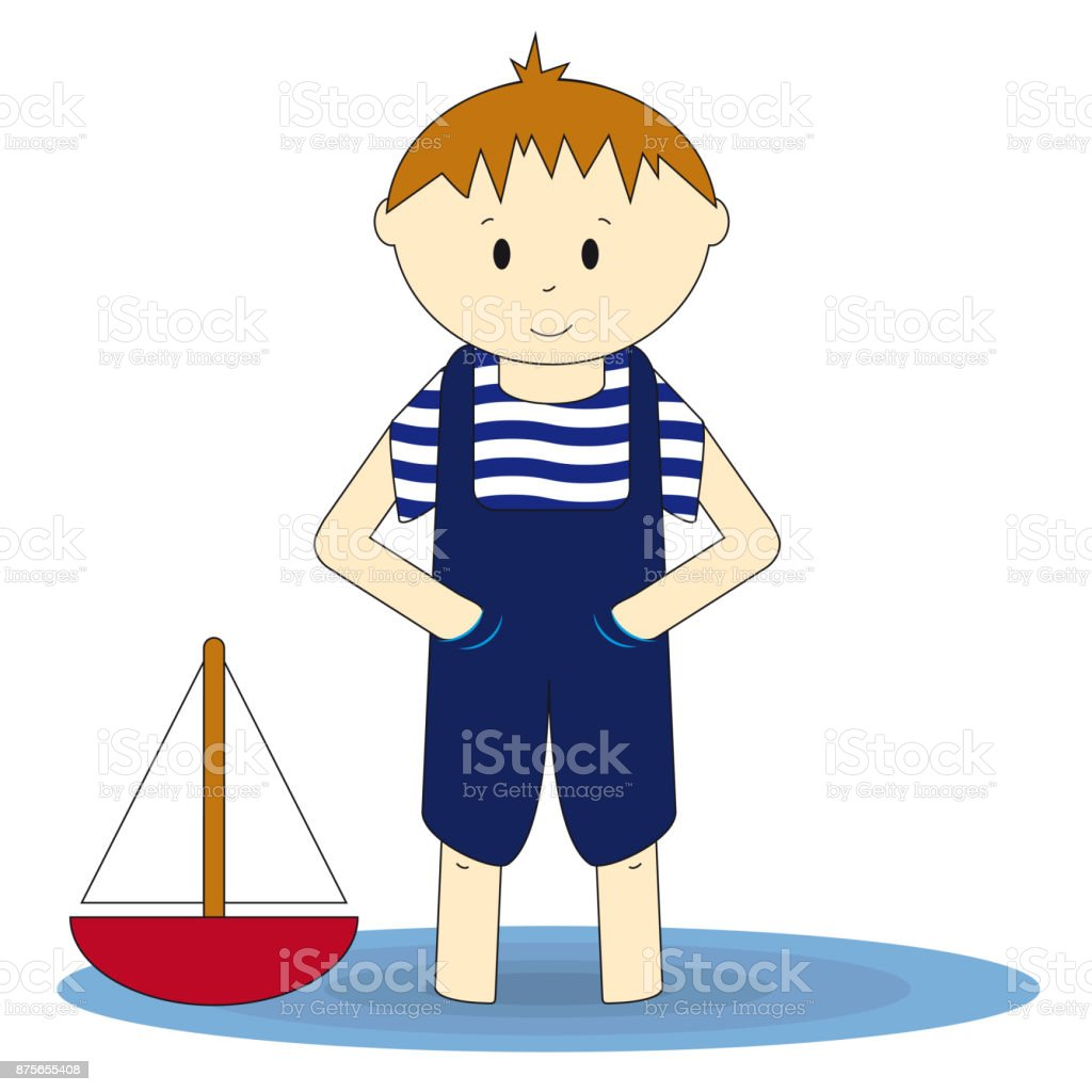Little sailor - cute boy standing in the water vector art illustration