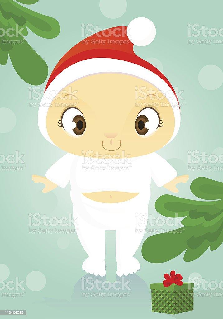 Little Santa boy see gift box royalty-free stock vector art
