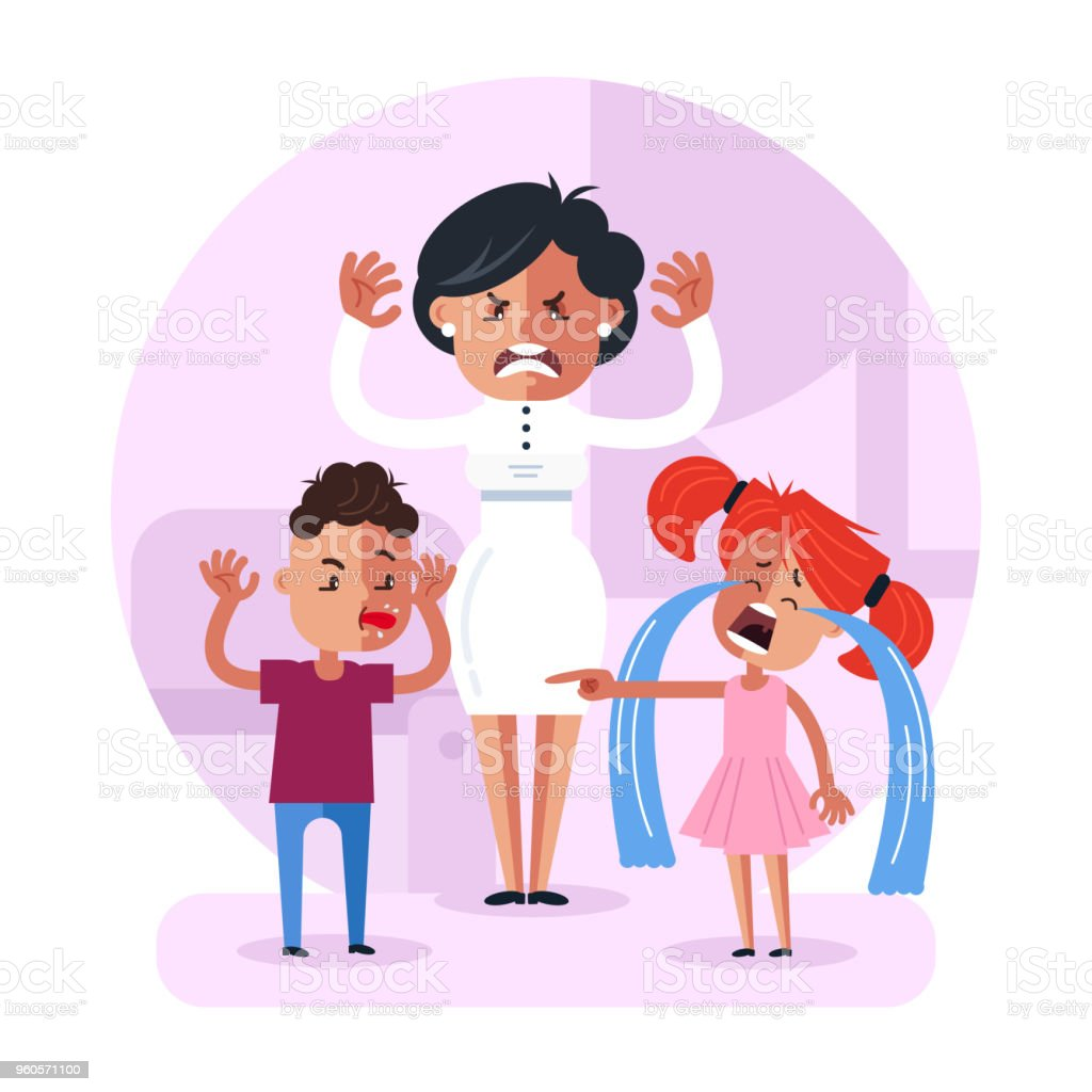 Little school child baby brother and sister pupils fighting quarreling and mother mom character have angry face expression and yelling. Family bad relationship discipline problem concept. Vector flat cartoon design graphic isolated illustration vector art illustration