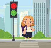 Little school girl crossing pedestrian abiding rules. Vector flat cartoon illustration