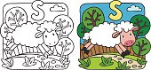 Coloring picture or coloring book of little funny sheep running along the path. Alphabet S