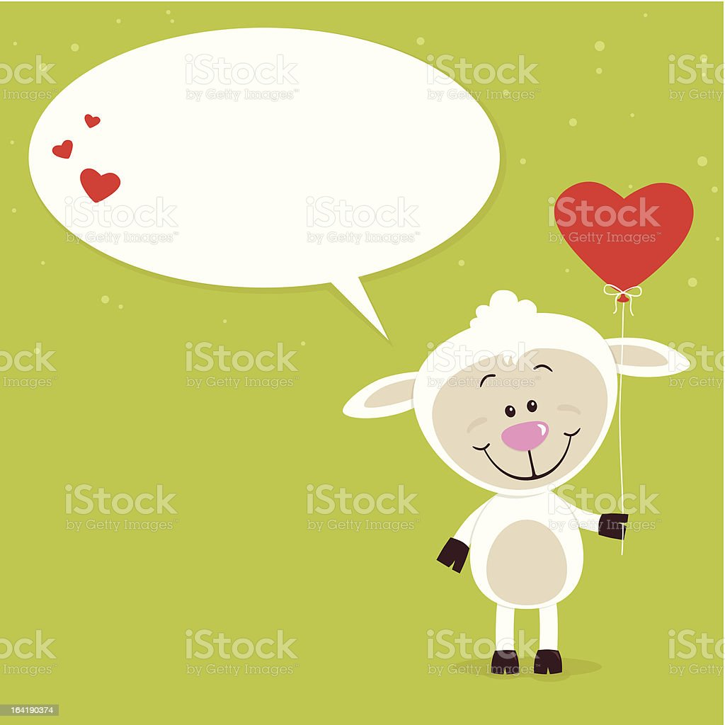 Little sheep with balloon speech bubble royalty-free little sheep with balloon speech bubble stock vector art & more images of backgrounds