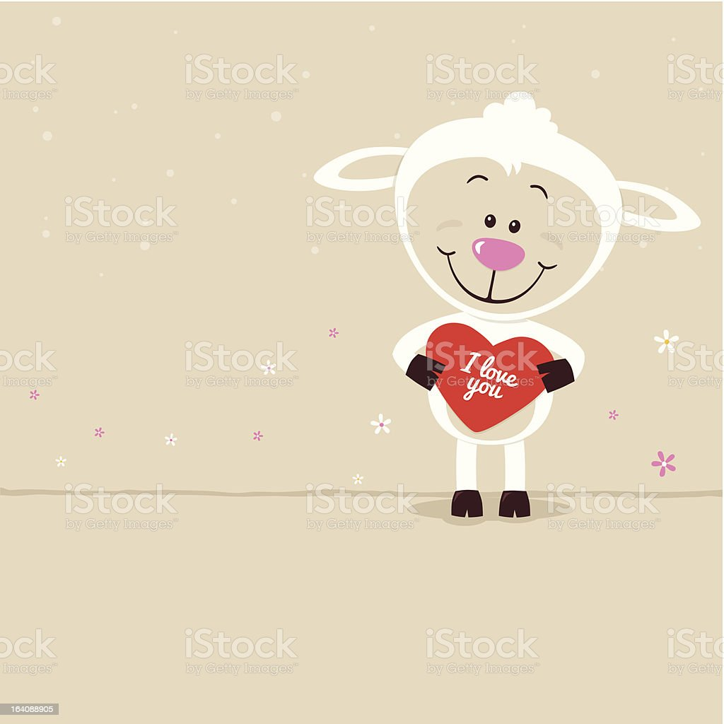 Little sheep with big red heart royalty-free little sheep with big red heart stock vector art & more images of animal