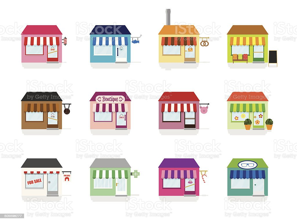 Little Shop Icons Vector Illustration vector art illustration