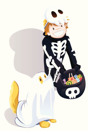 Little Skeleton and Ghost Dog
