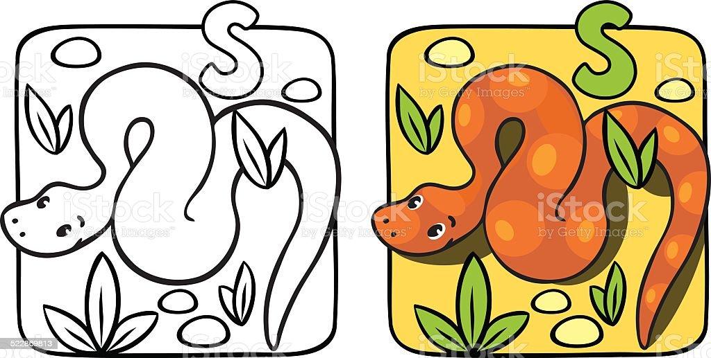 Little Serpiente Libro Para Colorear Alfabeto S - Arte vectorial de ...