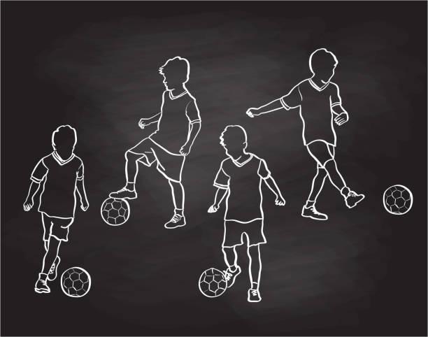 Little Soccer Player Chalkboard vector art illustration