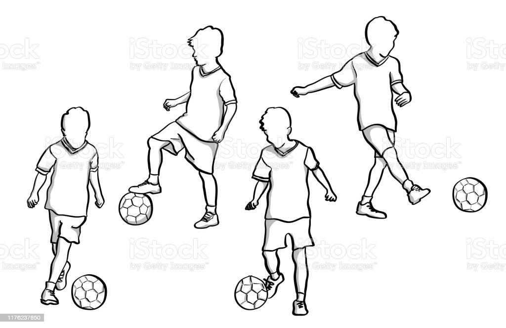 Kleiner Fussballer Stock Vektor Art Und Mehr Bilder Von