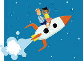 Little boy and girl riding a cartoon rocket ship to space, EPS 8 vector illustration
