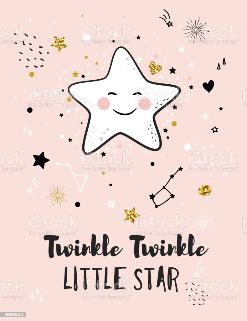 Little Star Greeting Card For Baby Shower Stock Vector Art More
