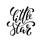 little star. Hand drawn creative calligraphy and brush pen lettering isolated on white background. design holiday greeting cards, invitations, print, t-shirts, home decor