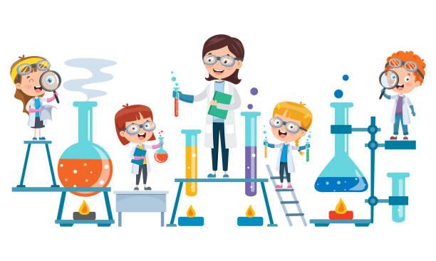ilustrações de stock, clip art, desenhos animados e ícones de little students doing chemical experiment - scientist