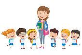 Little Students With Their Teacher
