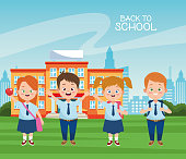 istock little students with uniforms in the school characters 1255261650