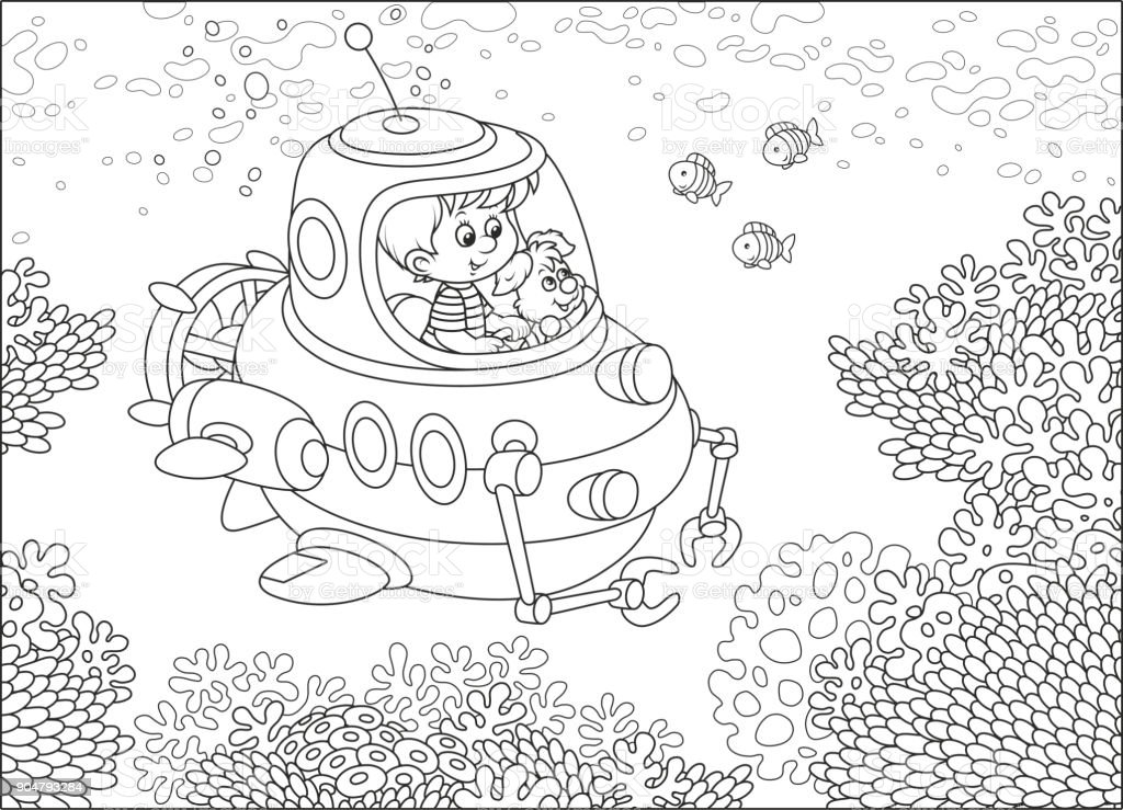 Resif Uzerinde Kucuk Denizalti Subayi Stok Vektor Sanati