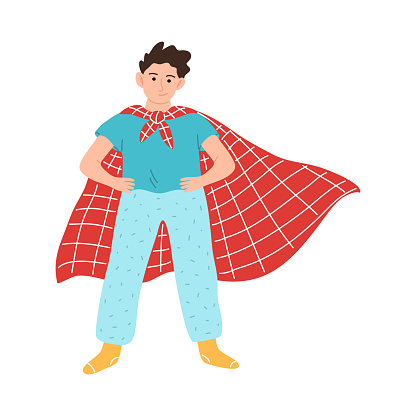 Little superhero boy character in a red cloak standing with hands on the belt. Vector illustration in cartoon style