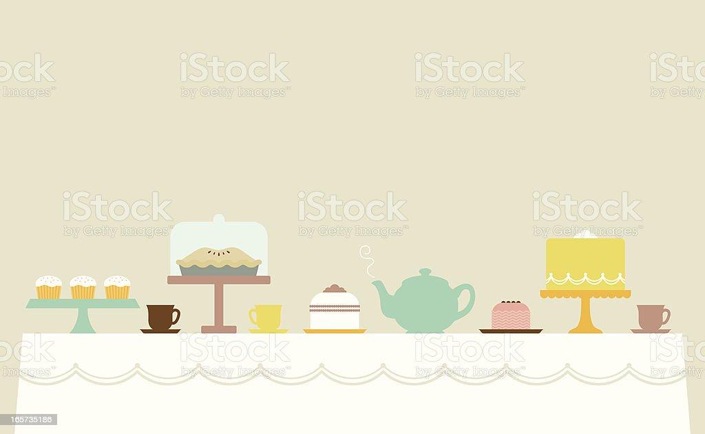 Little Tea Party vector art illustration