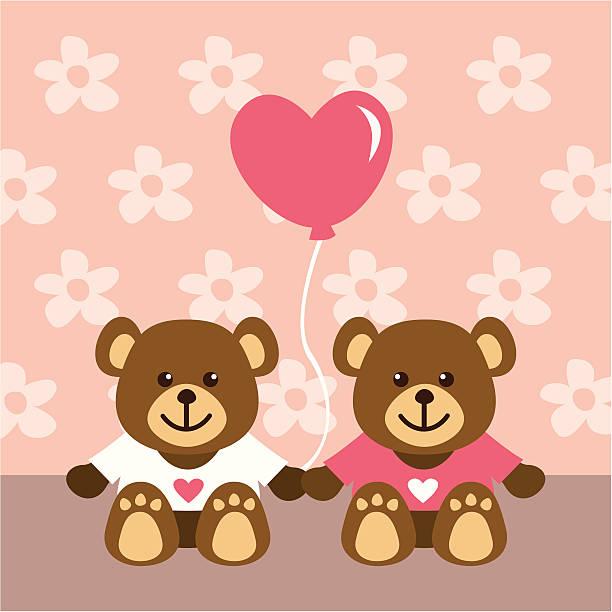 ilustrações de stock, clip art, desenhos animados e ícones de little urso de pelúcia com amor - balão enfeite