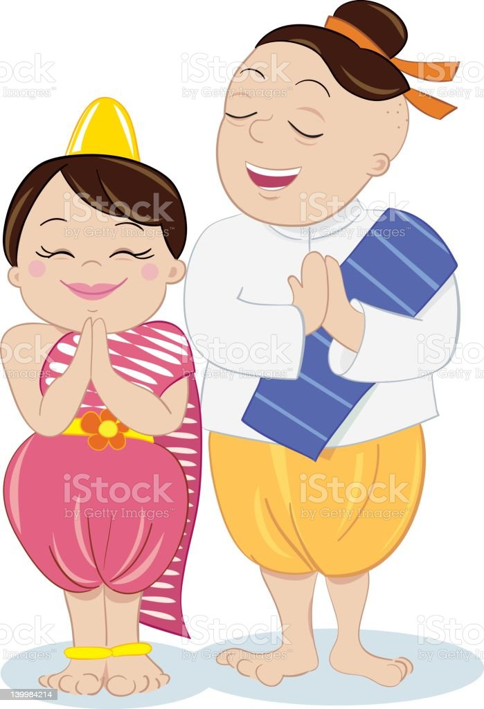 Little Thai Girl and Dad royalty-free stock vector art