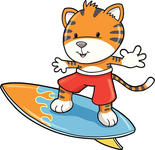 Little Tiger Cub Surfer vector art illustration