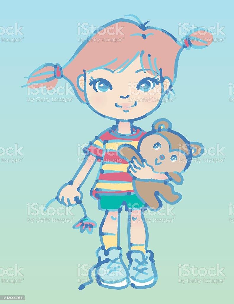 Little Tomboy Girl with Teddy bear