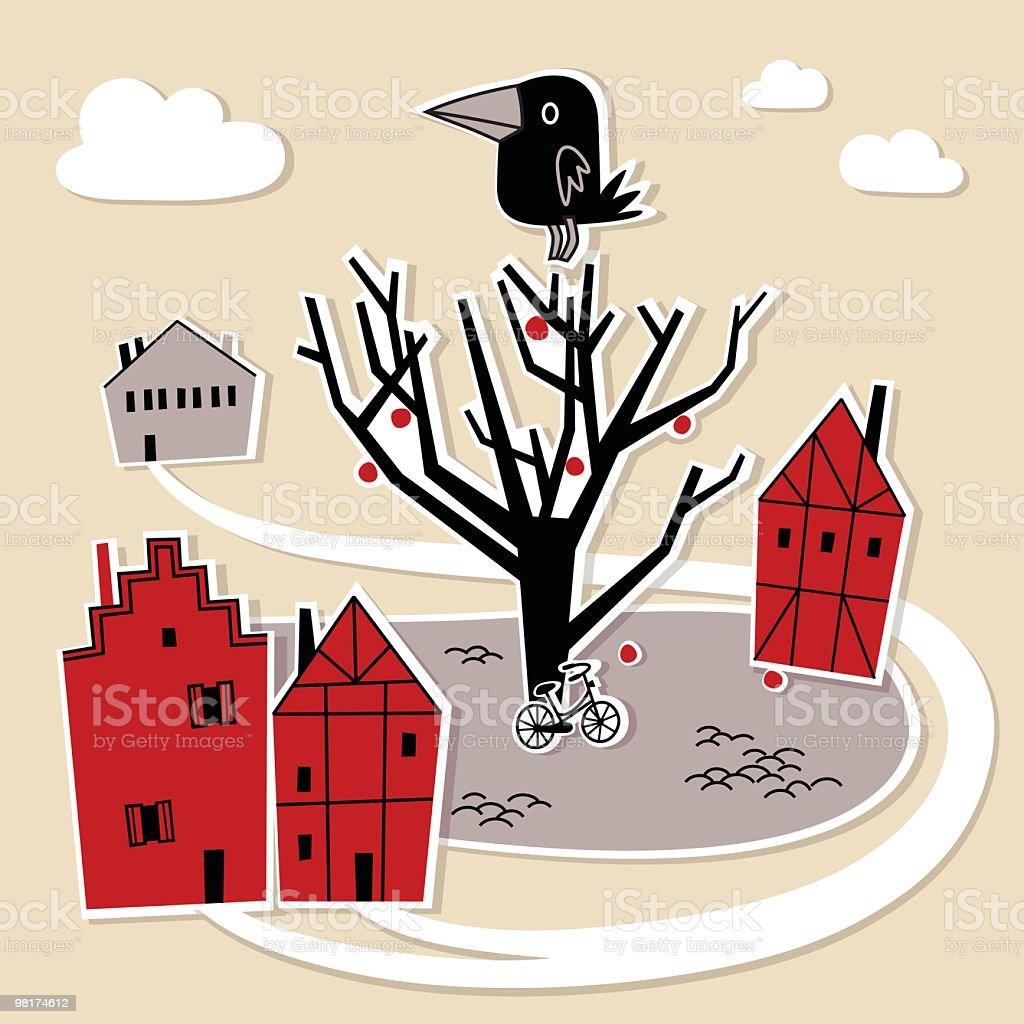 Little Town e Crow. little town e crow - immagini vettoriali stock e altre immagini di albero royalty-free