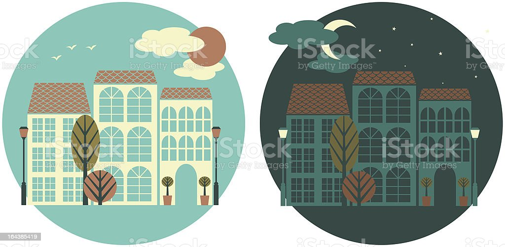 Little Town - Day and Night royalty-free little town day and night stock vector art & more images of blue
