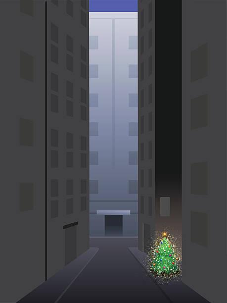 bildbanksillustrationer, clip art samt tecknat material och ikoner med little tree big city - gränd