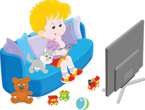 royalty free child watching tv clip art vector images