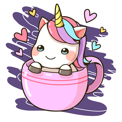 A little unicorn in a cup of coffee cartoon