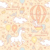 A seamless pattern with unicorns, birds and air balloons. Great for home textile.