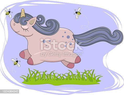 istock little unicorn jump, adorable baby cartoon background with grass and bee. lovely greeting card. vector illustration. 1324084342