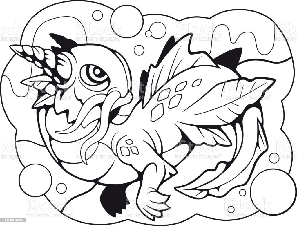 - Little Water Dragon Coloring Book Funny Illustration Stock Illustration -  Download Image Now - IStock