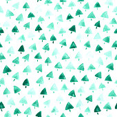 White square paper card filled by tiny triangular shapes painted by diluted paint that gives beautiful shades of green.  Seamless pattern in vector full of imperfections. Zoom to see the details! Great design for Christmas card design and wrapping papers.