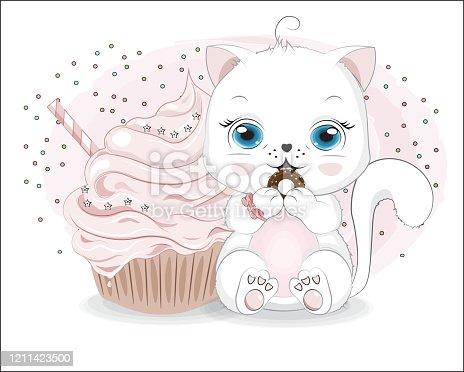 little white cat girl and cake