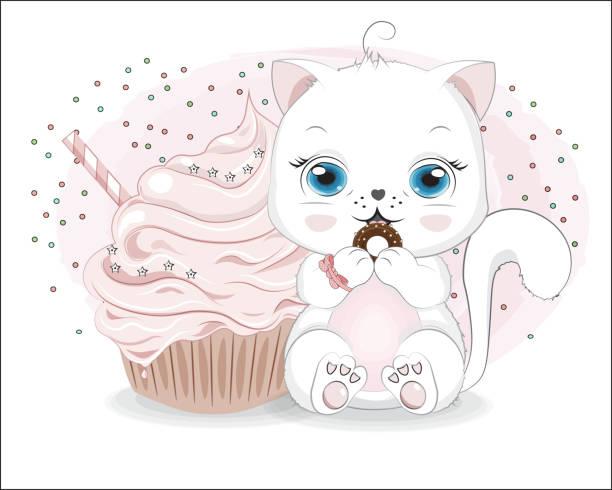 ilustraciones, imágenes clip art, dibujos animados e iconos de stock de pequeña chica gato blanco y pastel - ojos azules