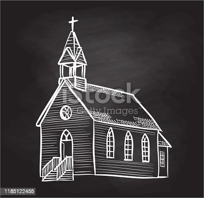Small old wooden church in sketched drawing vector illustration