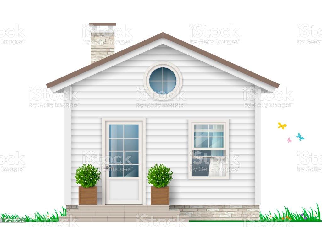 A little white house vector art illustration