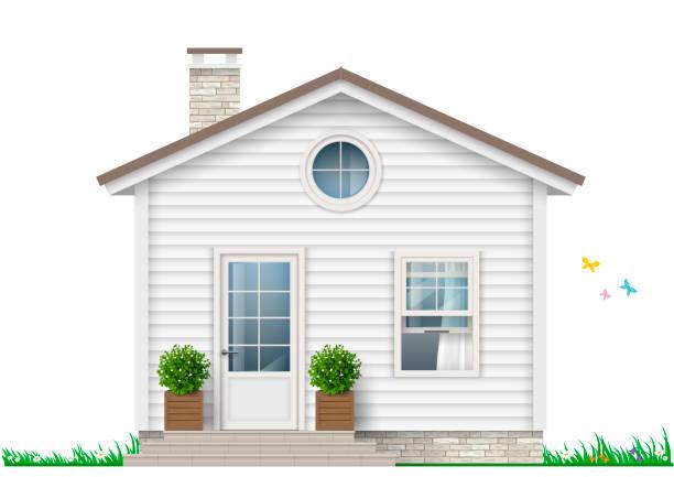 bildbanksillustrationer, clip art samt tecknat material och ikoner med ett litet vitt hus - wood stone