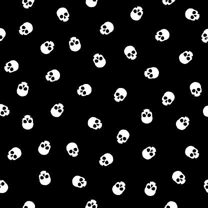 Little White Skulls Seamless Pattern