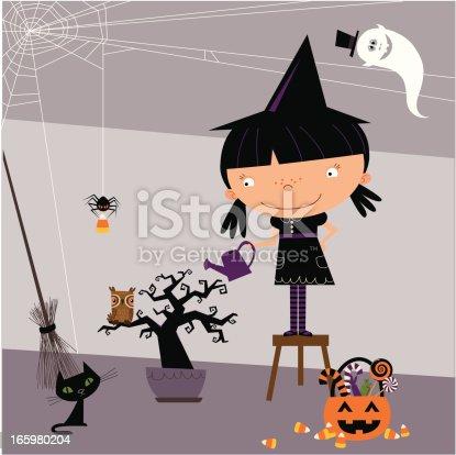 Little witch watering spooky tree.