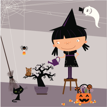 Little witch and her spooky tree